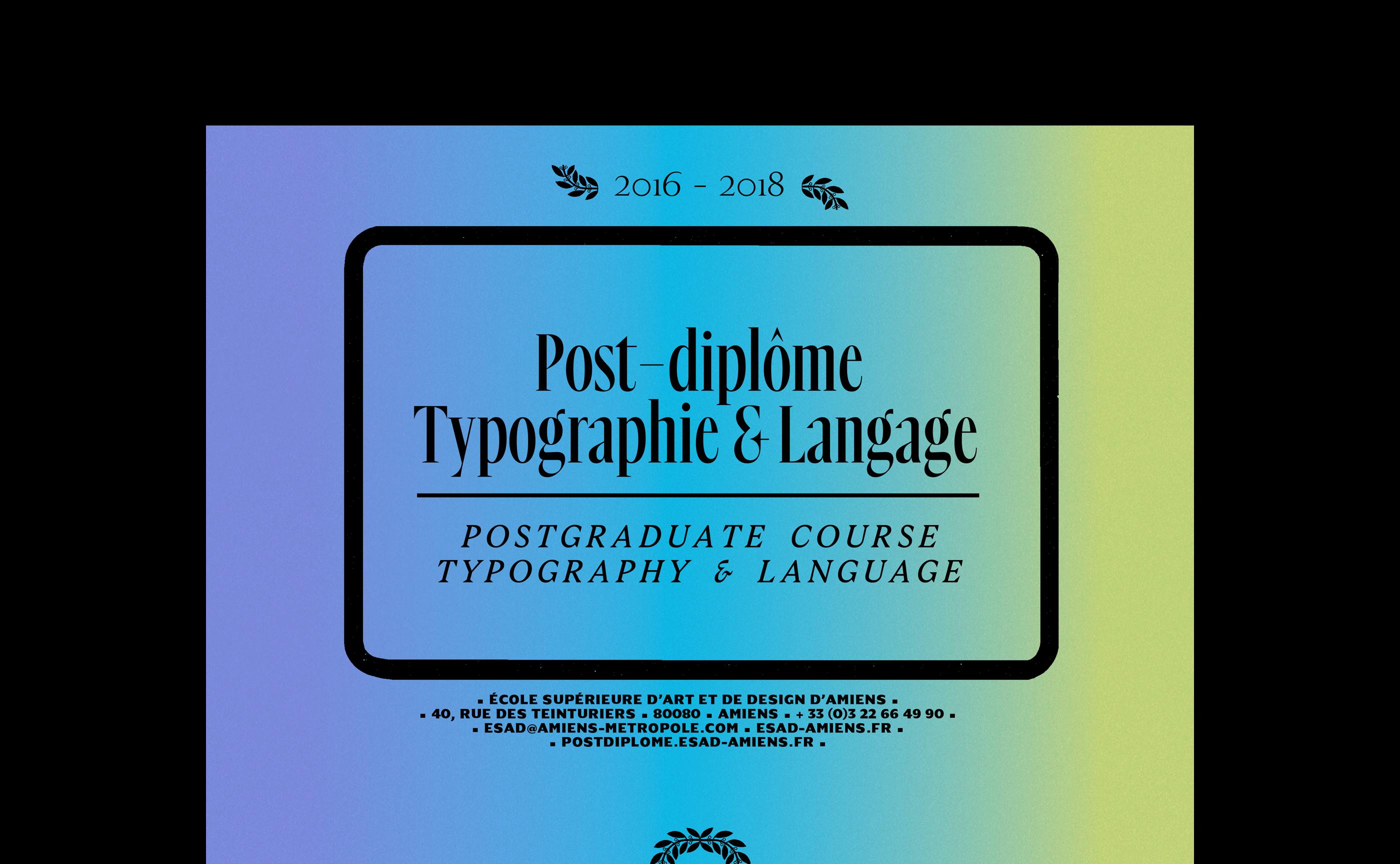 Post-diplôme typographie et langage